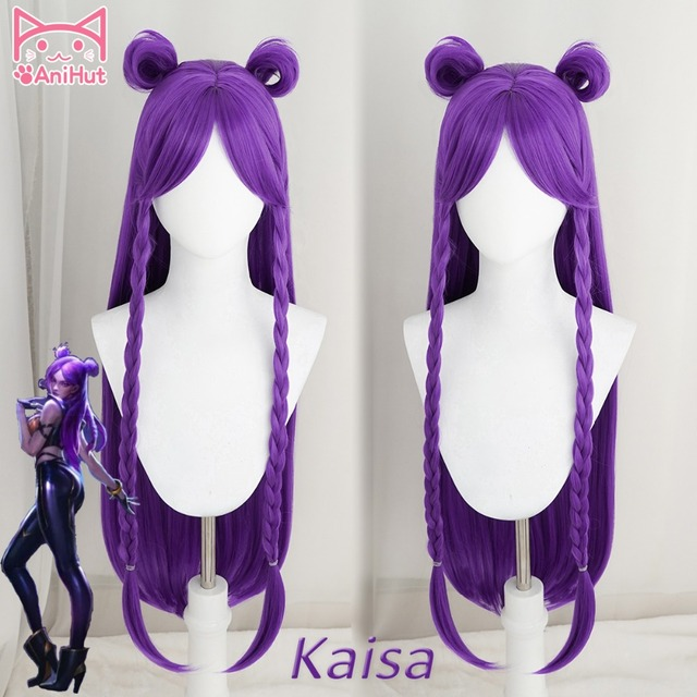 【Anihut】LOL Game Cosplay Wig KDA POP/STAR Kaisa  Cosplay Wigs Women Long Straight Purple Wig LOL KDA Kaisa KPOP SKIN Hair