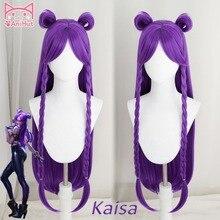 【Anihut】LOL игра косплей парик KDA POP/STAR Kaisa Косплей парики женские длинные прямые Фиолетовый парик LOL KDA Kaisa KPOP SKIN Hair