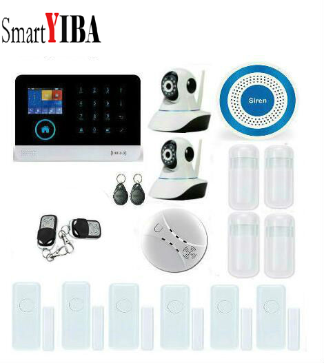все цены на SmartYIBA Wireless 2G/GSM Home Security Alarm System+Wireless Smoke Detector+Wireless Siren+Door Sensor+WIFI IP Camera Alarm Kit