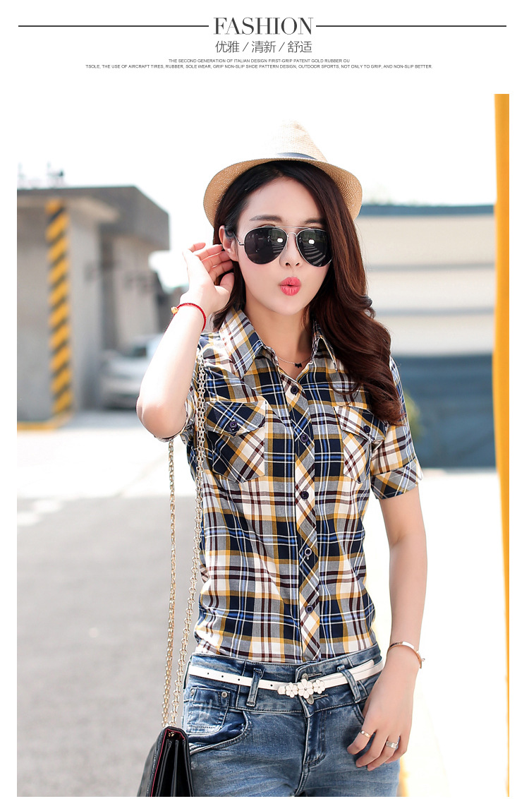 HTB1g1vCHFXXXXb8XVXXq6xXFXXXi - New 2017 Summer Style Plaid Print Short Sleeve Shirts Women