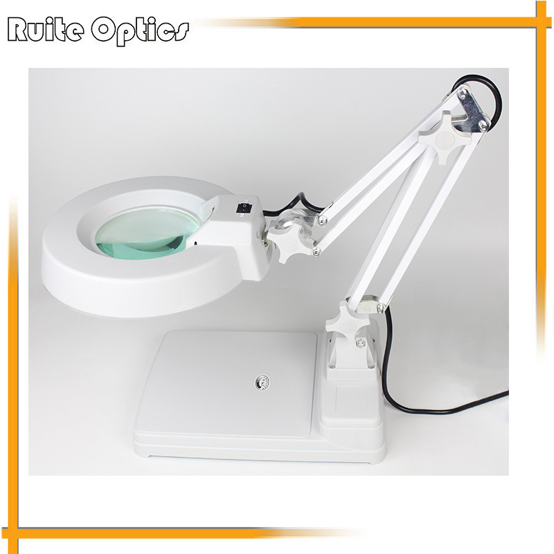 AC 220V 10X Desktop Table LED Lamp Magnifer with Optical Glass Folding Stand for PCB Precision Parts Inspection Magnifying Glass