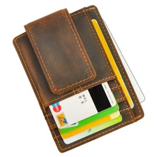 Purse Money-Clip Wallet Credit-Card-Case Front-Pocket Magnetic Male Mini for Men 1015