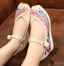 Sequin embroidery embroidered shoes slope with increased casual shoes old Beijing cloth shoes women's singles 2016 Chinese style