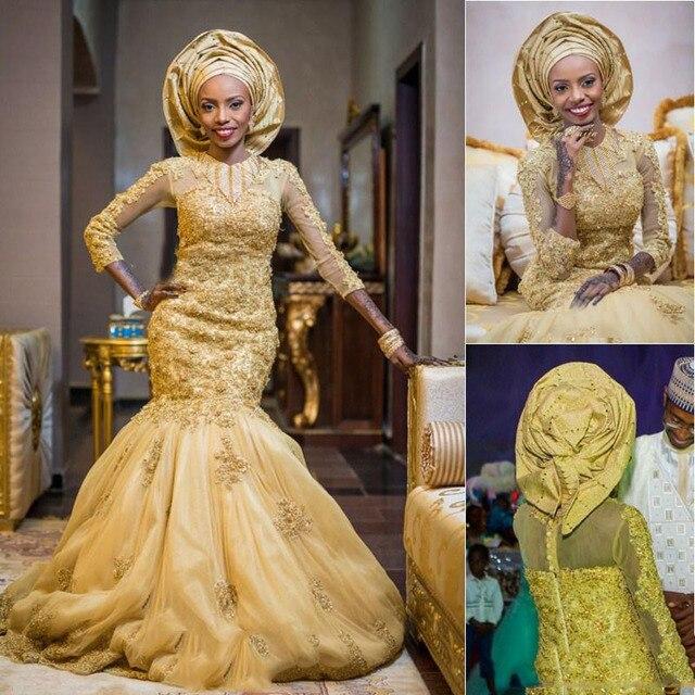 2019 זהב אפריקאי Vestido דה noiva מסורתית יוקרה בת ים שמלות כלה חרוזים אפליקציות 3/4 שרוולים אלגנטי כלה שמלות
