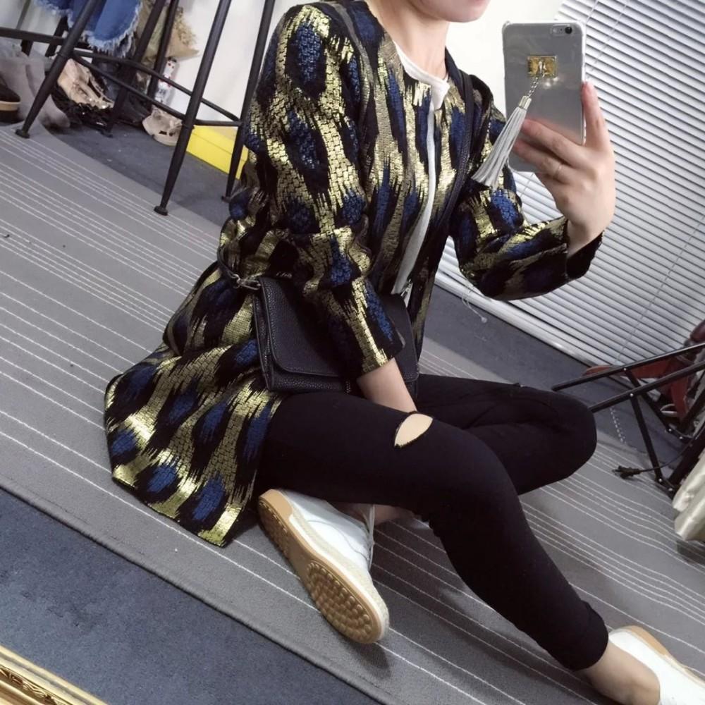 HTB1g1vvJFXXXXbnXpXXq6xXFXXXl - 2015 Autumn New The peacock printing Knitting Long Cardigan Ladies Sweater Women Coat Outwear Snake Pattern Bronzing Tops