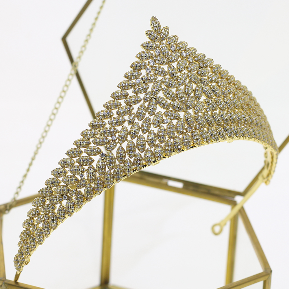 Zircon bridal Gold Crown Crystal Jewelry Wedding Headband royal princess Evening Hair Wedding Accessories