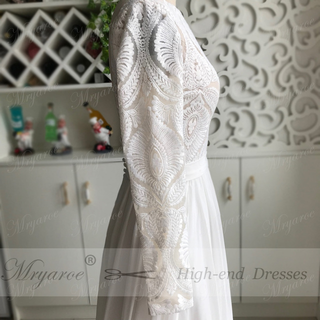 Unique Lace Long Sleeves Open Back Hippie Style Wedding Dress Chiffon Detachable Train Boho Chic Rustic Bridal Gowns