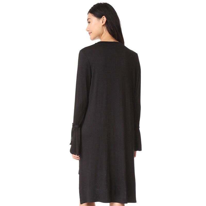 Vestido de mujer HYH HAOYIHUI con cuello en V de manga larga con encaje para mujer moda femenina vestido Casual sólido negro alto hueco fuera - 2