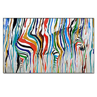Handmade Large Canvas Painting African Modern pop Art picture zebra Living Room Wall Decor Pictures colorful animal Oil Paint