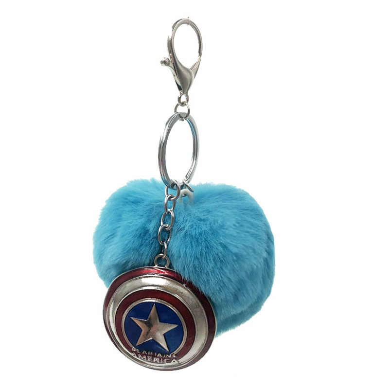Capitão América Escudo de moda Faux Fur Bola Chaveiro Saco Acessórios Peças Leves Organizadores Ornamento Mulheres Saco do Anel Chave