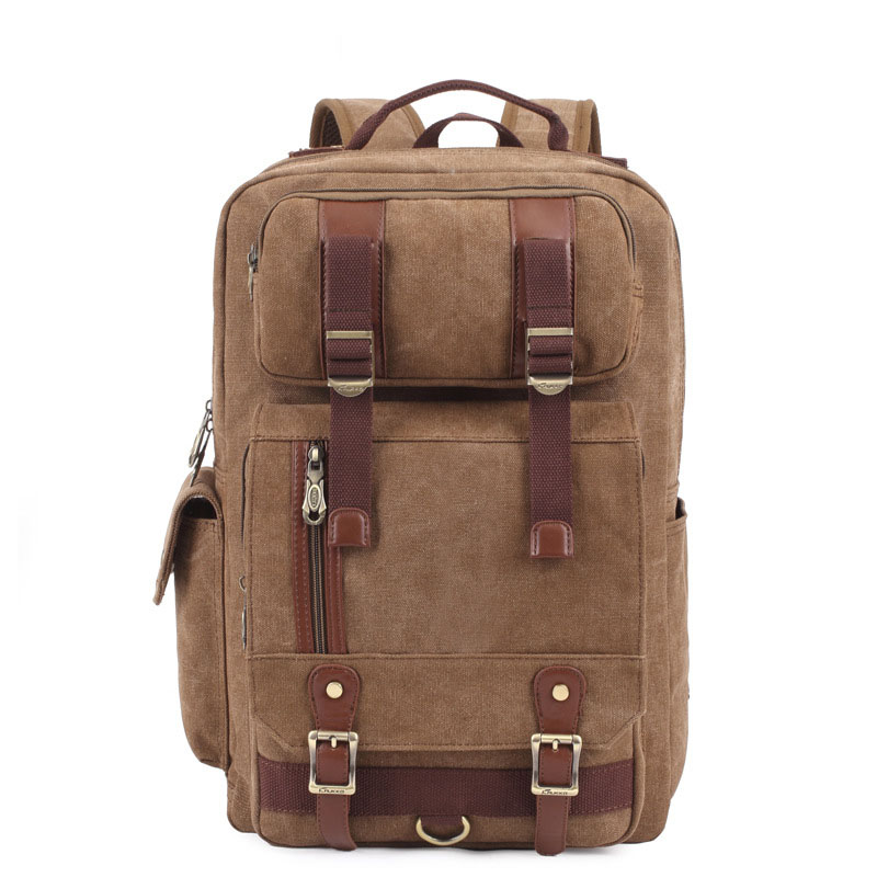 Large Square Bag Men's Large Capacity Travel Bag Leisure Fashion Backpack Canvas Leather Men Multi Pockets Functional Backpacks