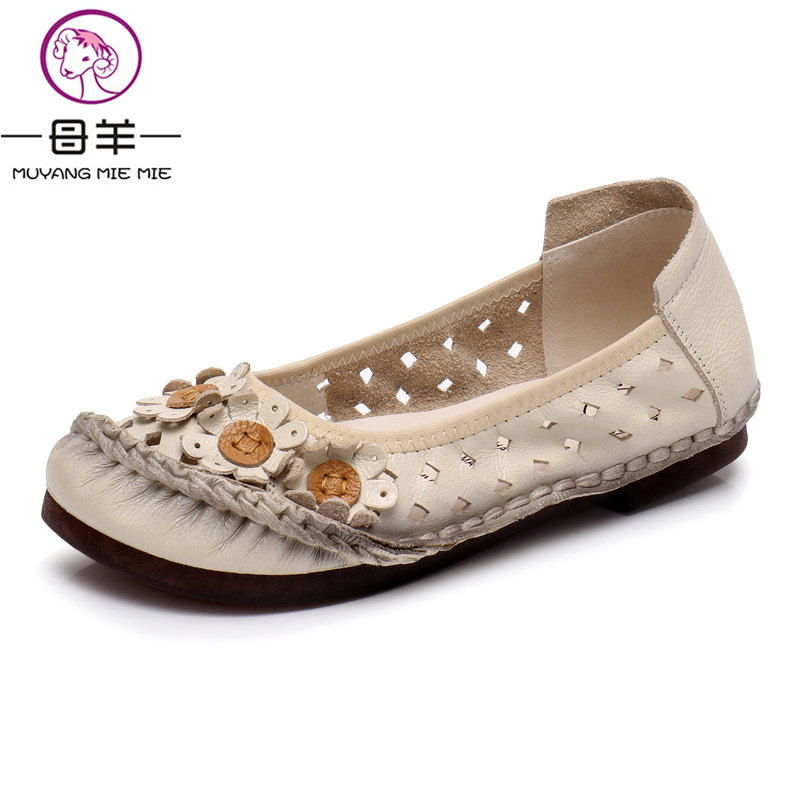 MUYANG MIE MIE Women Sandals Summer Shoes Woman Genuine Leather Flat Sandals Female Flower Casual Sandals Women muyang mie mie 2017 new fashion women flats rhinestone genuine leather flat shoes woman casual shoes soft round toe women shoes