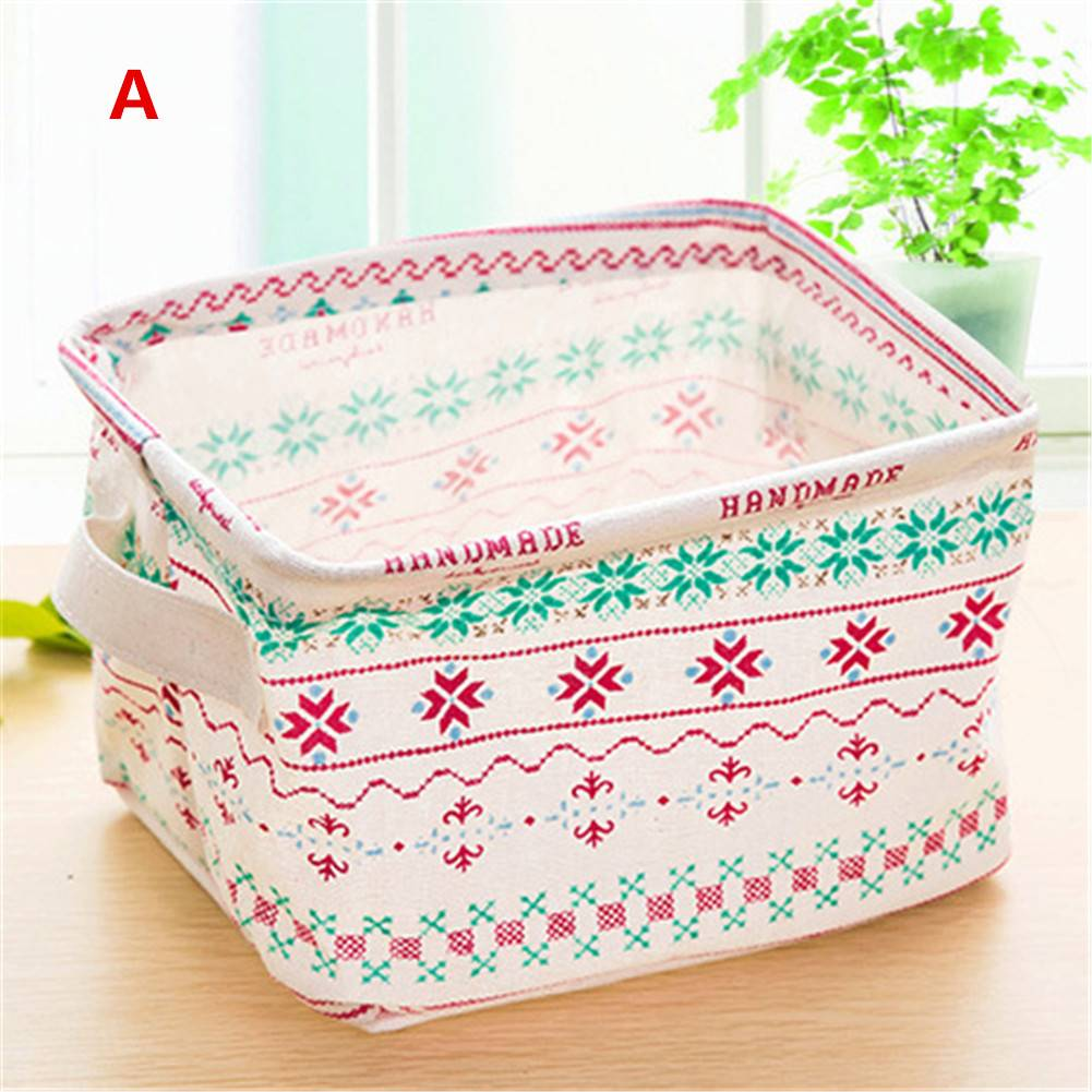Linen Desk Storage Box Holder Jewelry Cosmetic Stationery Organizer Case Bag Random Color