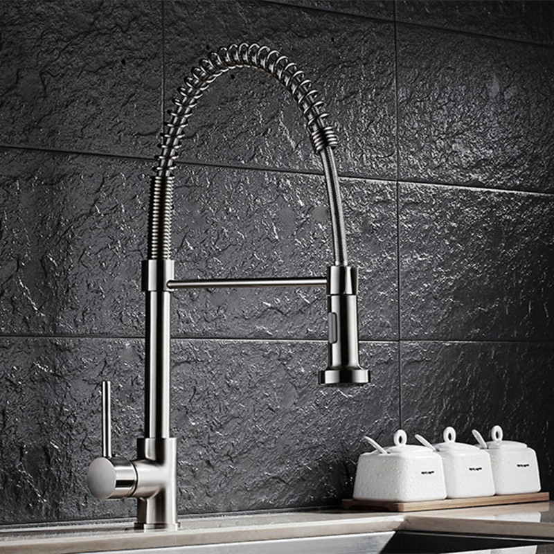 Free shipping Luxury Brushed kitchen sink faucet with solid brass kitchen faucet of pull out kitchen sink water faucetsFree shipping Luxury Brushed kitchen sink faucet with solid brass kitchen faucet of pull out kitchen sink water faucets