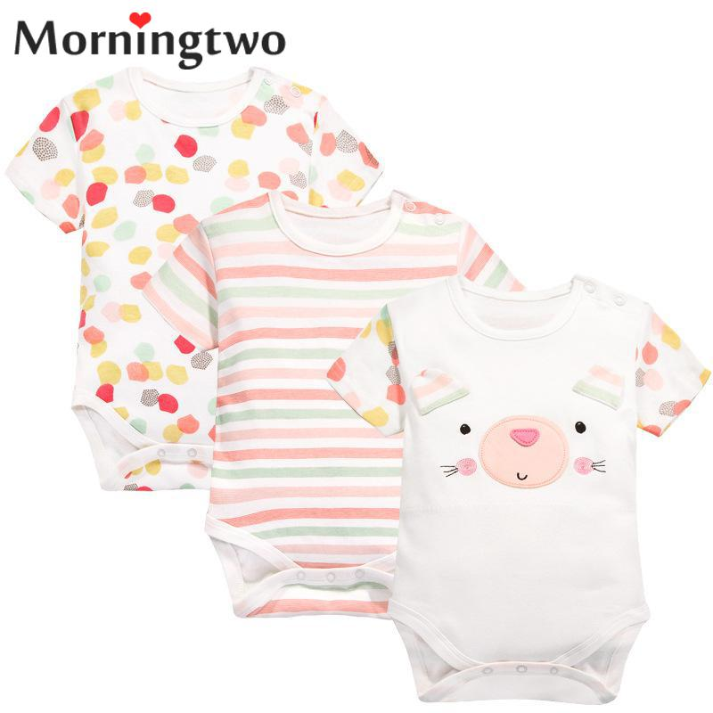 Morningtwo 2018 3pcs New Baby Girl Clothes Short Sleeve Body Clothes For Newborns Cute Overalls Soft Baby Rompers For Bebes