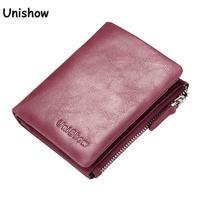 Unishow Brand Women Genuine Leather Wallet Small Zipper Leather Women Purse Retro Female Lady Wallet Short