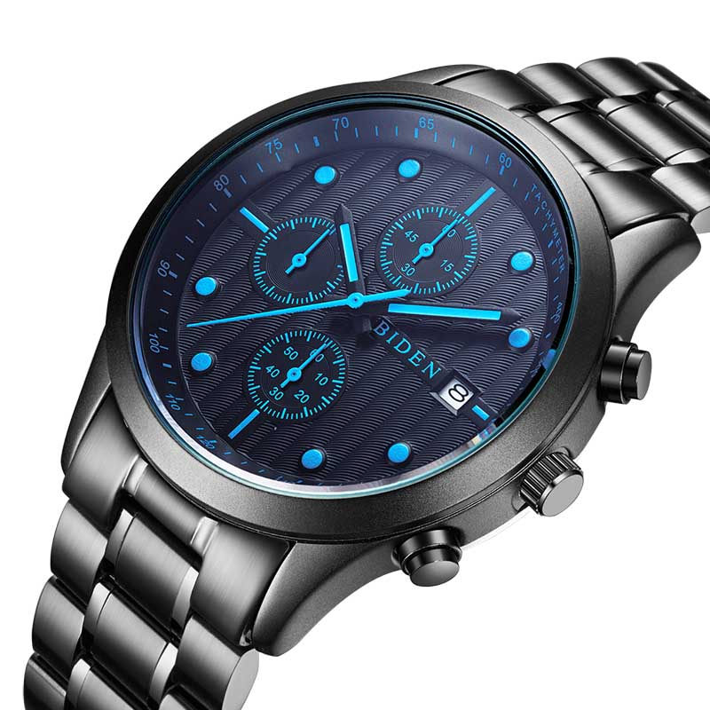 BIDEN Brand High Quality Men's Sport Watch Fashion Steel Band Quartz Watch Multi-function Analog Clock Military Watches Relogio