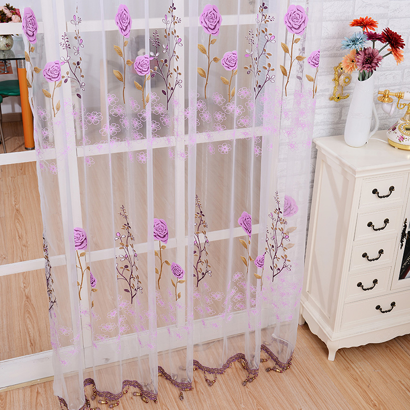 Romantic Sheer Panel Door Curtain Beads Tassel Floral Voile Divider Window Curtain Scarfs ...
