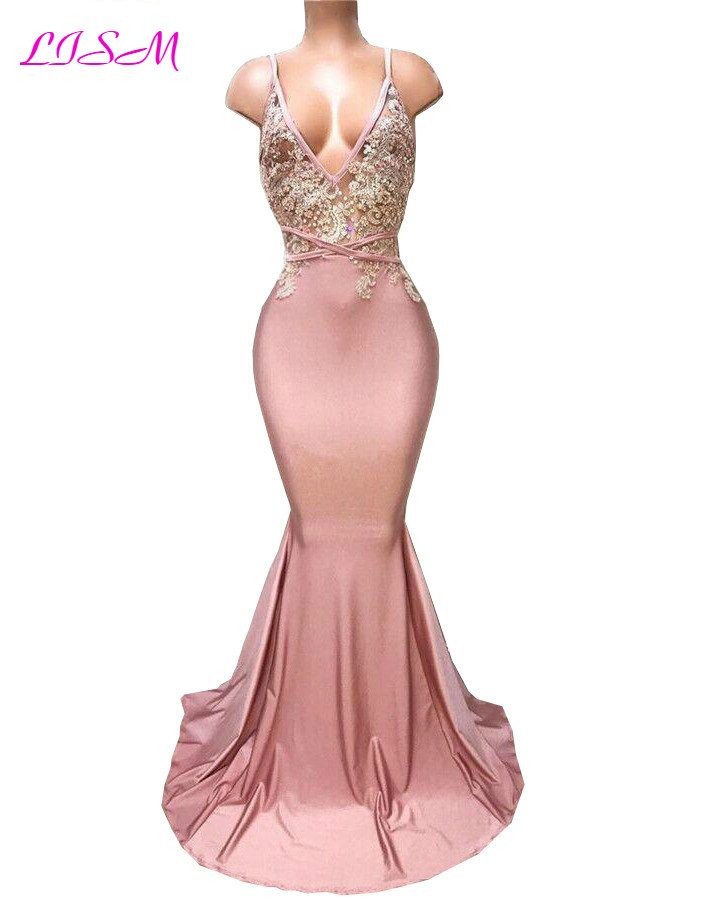 Dusty Pink Spaghetti Mermaid   Prom     Dresses   Appliques Beaded Long Party Gowns Sexy Backless Satin Formal   Dress   vestido de feata
