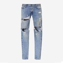 Mens Ripped Biker Jeans Slim Fit Motorcycle Jeans Men Vintage Distressed Denim Jeans Pants Best version represent brand clothing