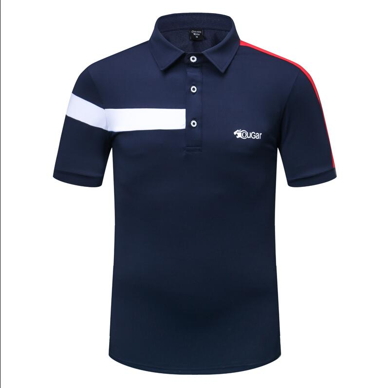 Botão de Lapela de Manga T-shirt de Golfe dos Homens de Verão Camisas de Esportes de Golfe Curta Respirável Quick Sportswear Tops Anti Suor 2019 Dry