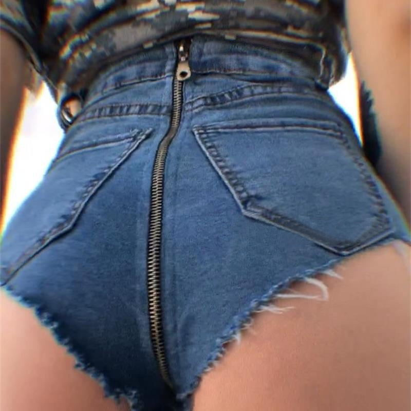 2018 Sexy High Waist Short   Jeans   for Women New Back Zipper Ripped Denim Party Club Hotpants Elastic Stretched Trousers Femme