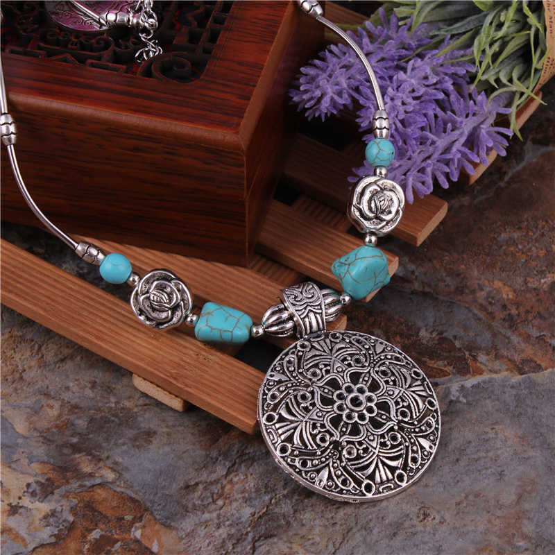 Bohemian Carved Tibetan Silver Color Stone Vintage Necklaces & Pendants Chain Jewelry Bijouterie For Women Girl's