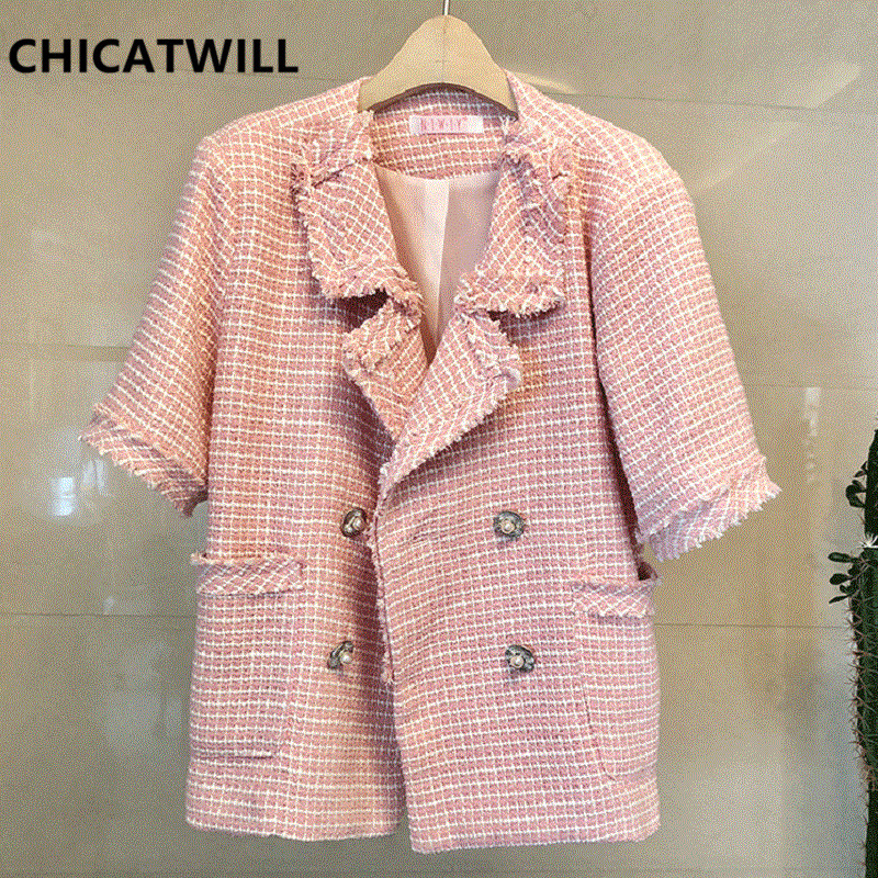 CHICATWILL 2019 Autumn Women Tweed Jackets Ladies Casual Loose Tops Outerwears