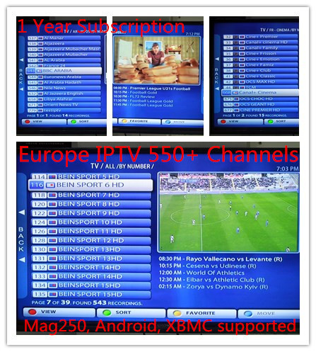 Free test 3pcs/lot 1 Year Live IPTV Europe + Arabic 550 Plus HD Channels Full Bein,movies for XBMC, Android and Mag250 lunix