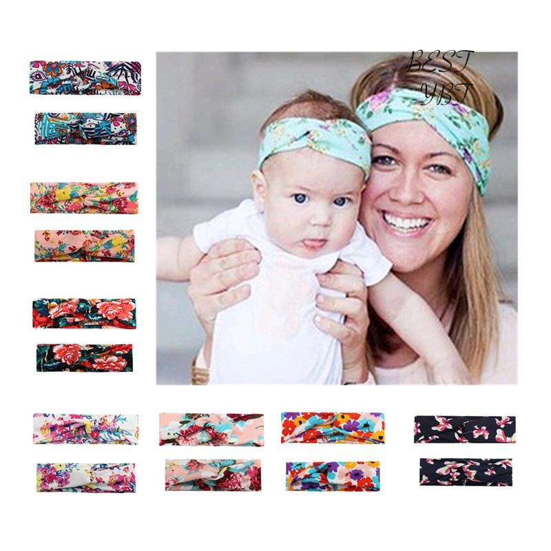 2Pcs Women Headband Flower Mom Baby Hat Bow Girls Turban Hair band Parent-child