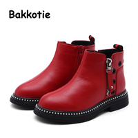 Bakkotie 2018 Winter New Fashion Children Red Warm Shoes Baby Girl Microfiber Boots Kid Brand Princess Soft Ankle Shoes
