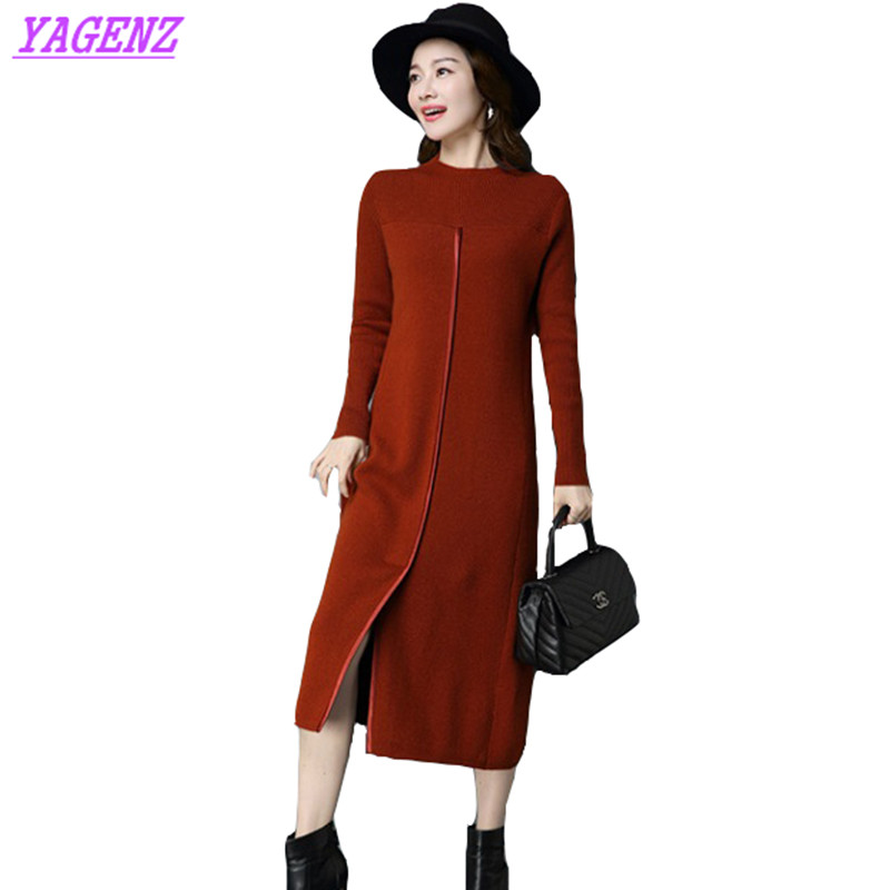Long Sweater Dress Autumn Winter Womens Split ends Knit Bottom Dress Fashion Women Hedging Round neck Gray Warm A word Dress 554 rqueena new arrival double v neck bodycon pencil dress 2017 fashion autumn winter women casual long knitted sweater dress women