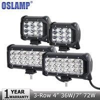 Oslamp 4 36W 7 72W 3 Row Flood Spot LED Work Light Offroad Led Bar Driving