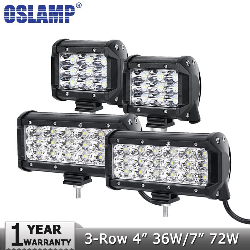 Oslamp 4 36 W 7 72 W 3-Row Flood Spot LED Light Work Offroad Led Bar conduite Lampe 12 v 24 v Camions SUV ATV 4x4 4WD de Travail lumières