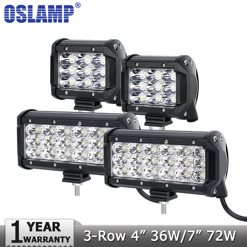 Oslamp 4 36W 7 72W 3-Row Flood Spot LED Work Light Offroad Led Bar Driving Lamp 12v 24v Trucks SUV ATV 4x4 4WD Working Lights oslamp reflection cup 7inch led work lights 4x4 4wd offroad driving led light 4inch spot flood 12v 24v atv boat suv truck car