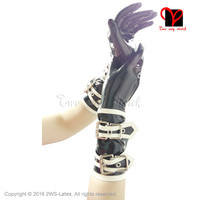 Hot Sale Sexy Latex Rubber Wrist Five Fingers Short Gloves Guantes Gummi Zentai Wear New Erotic