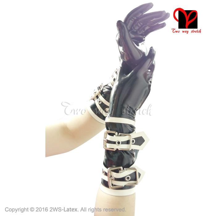Sexy Latex Schnalle Handschuhe Short Trim Gummi Handgelenk Handschuhe Five Finger Driving Opera Gummi Catsuit Hand plus Größe ST-007