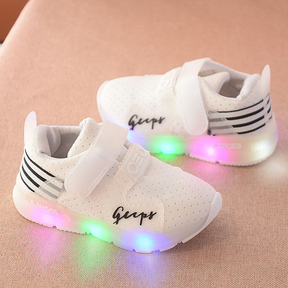 Shoes Sneakers Glowing Girls Baby Boys Breathable for And Mesh -D1 Led-Lights Children's