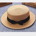 Gorra de verano para niños, niñas, adultos, hombre, mujer, sombrero de paja con lazo retro británico, sombrero de paja, techo plano, protector solar para la playa 2mz53