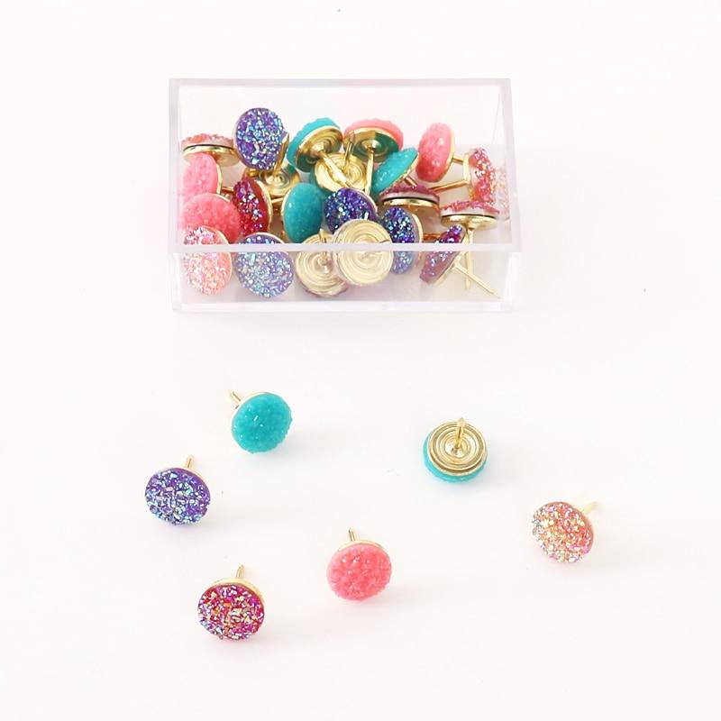 TUTU Glitter 20pcs/box Plastic Quality Cork Board Safety Colored Push Pins Thumbtack Office School Accessories H0297