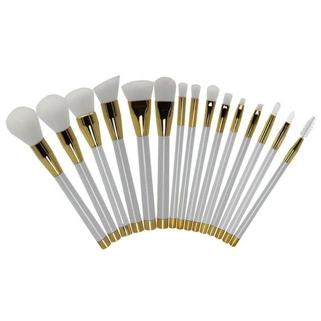 15 Unids maquillaje juego de brochas Fundación Polvo de Sombra de Ojos Maquillaje Pinceles Set Kits de cepillo del maquillaje de Belleza Blanco Puro A4