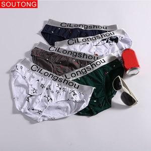 Image 2 - Soutong 4 sztuk/partia męskie majtki bielizna czysta bawełna nadruk seksowne figi męskie niskiej talii Cueca Hombre Calzoncillos Gay bielizna mężczyzn