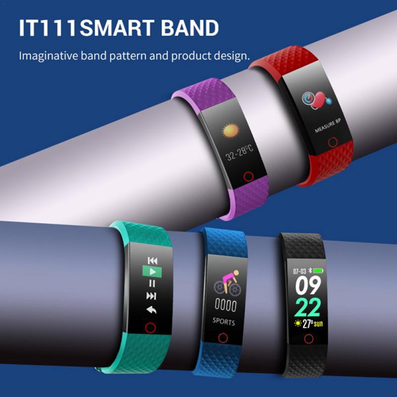 IT111 Sport Smart Wristband Bracelet Step Counter Blood Pressure Heart Rate Monitoring Color Screen Bracelet Smart Wristband
