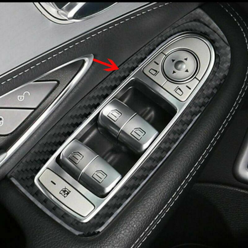 BBQ@FUKA Carbon Fiber Car Door Armrest Window Adjust Button Cover Trim For Mercedes Benz C Class C200L180L GLC260 2016 2017
