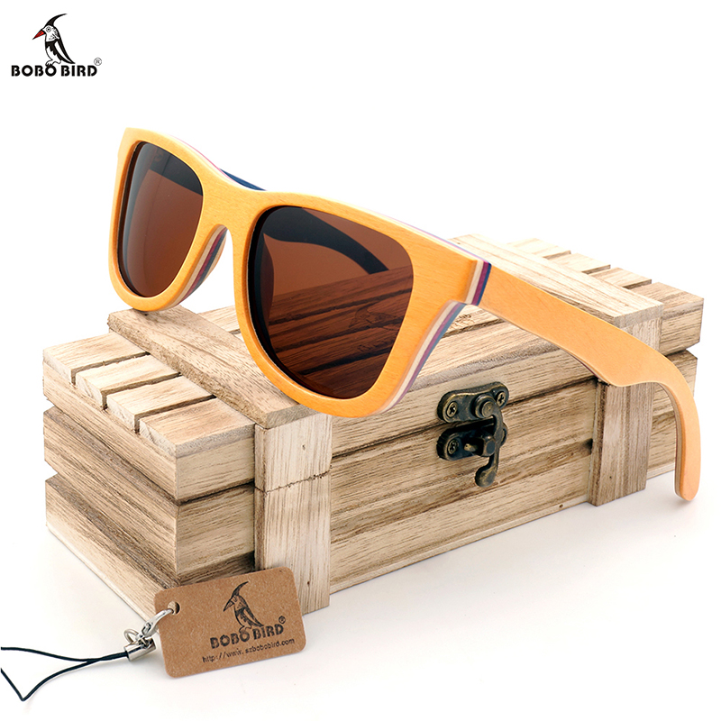 BOBO BIRD Skateboard Wooden Sunglasses Polarized Sunglasses Oculos de sol Men Vintage Wood Bamboo Sunglasses With Gift Box