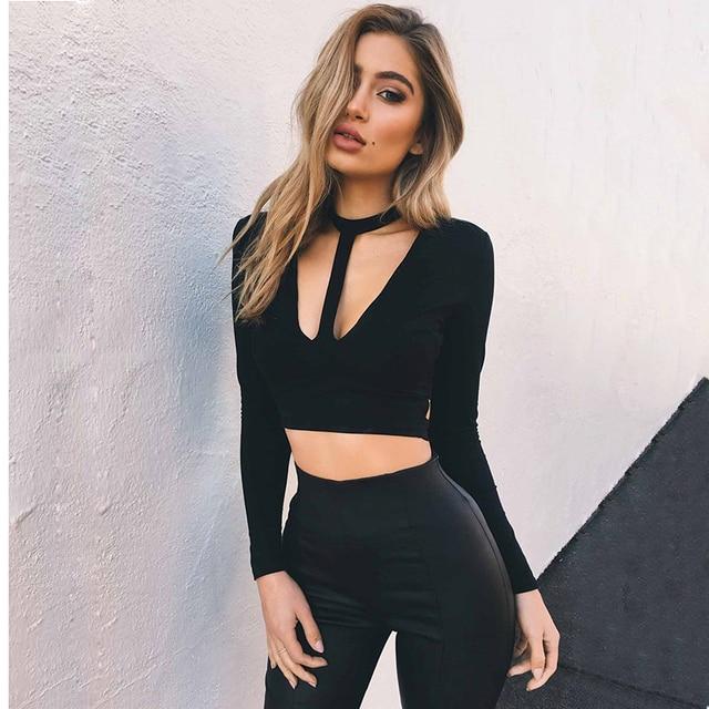 f636d492484db Choker Top 2017 Autumn Sexy Halter Neck Deep V T-Shirt Women Long Sleeve  Crop Tops Back Bandage female t-shirts black