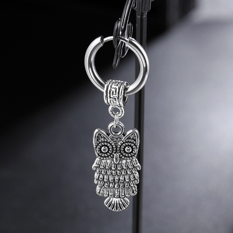 2018 Gothic Punk Vintage Stainless Steel Owl Stud Earrings Round Earings Fashion Jewelry For Men Women Thanksgiving Day Gifts