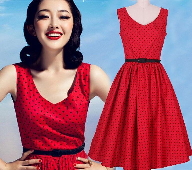 Vestido lunares rojo mujer