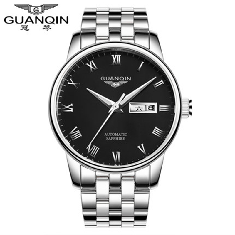 Original Top Brand GUANQIN Mechanical Men Watch Luxury Fashion Steel Watch Men Clock Waterproof Wristwatches Relogio Masculino men luxury automatic mechanical watch fashion calendar waterproof watches men top brand stainless steel wristwatches clock gift