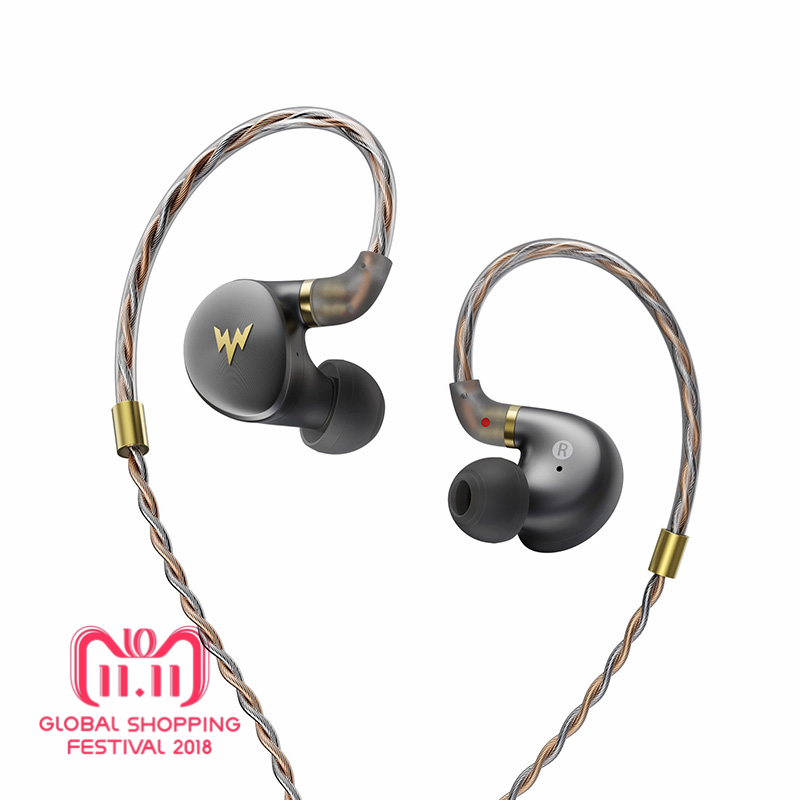 Whizzer A-HE03 Juicy Bass Earphones HiFi Hi-Res Headsets Hybrid 2 Knowles Armature Clear Warm Sound Metal In Ear Earphones soundmagic e80 hifi in ear earphones super bass perfect sound earbuds full metal earphones strong bass clear voice